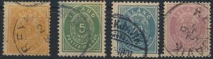 Island 12-15 A Ziffer und Krone Ausgabe 1882 gstempelt Kat. 117,00