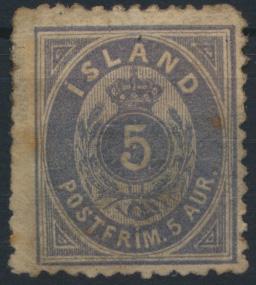 Island 6 B Ziffer Krone Ausgabe 1876 ungebraucht Mängel Kat 300,-