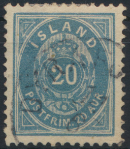Island 14 Ba Ziffer Krone Ausgabe 1882 gestempelt