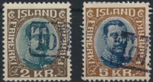 Island 97-98 König Christian X. mit Stempel Tollur