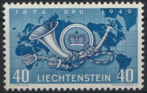 Liechtenstein 277 UPU Weltpostverein Posthorn Weltkarte Landkarte tadellos