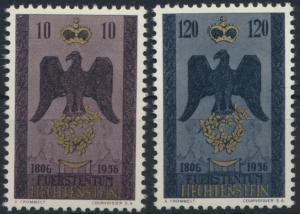Liechtenstein 346-347 150 Jahre Souveränität 1956 tadellos postfrisch