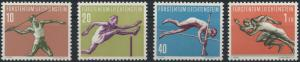 Liechtenstein 342-345 Sport III Plattenfehler 344 I. 1956 tadellos postfrisch