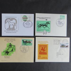 Briefe und Karten Sammlung Motiv Pferde DDR mit inter. Vielfalt 15 Stück