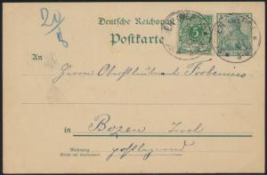 Reich Ganzsache Germania in inter. MIF 5 Pfg Reichspost n. Bozen Italien Tirol