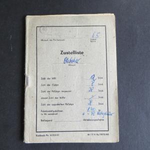 Schandau DDR Postsache kompl. Zustellliste als Heft MEF teils frankiert mit