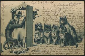 Ansichtskarte Katzen Affen Prägekarte Kasperle Theater Spielzeug Teufel