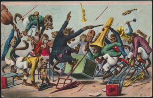 Künstler Ansichtskarte Affen Finale Musik Orchester sign. E.V.M. Frankreich