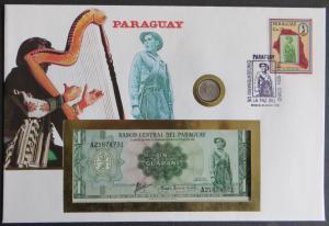 Geldschein Banknotenbrief Maya Paraguay P193 Schein+ Briefmarkenausgabe Münze