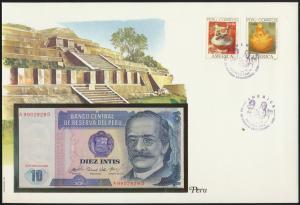 Geldschein Banknotenbrief Maya Tempel Peru P128 Schein + Briefmarkenausgabe sehr