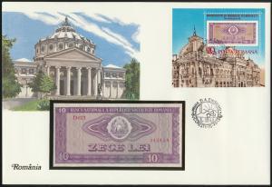 Geldschein Banknote Banknotenbrief Rumänien P94 Schein + Briefmarkenausgabe