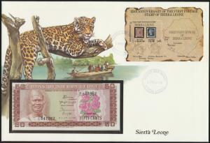 Geldschein Banknotenbrief Sierra Leone Leopard P4 Schein und Briefmarkenausgabe