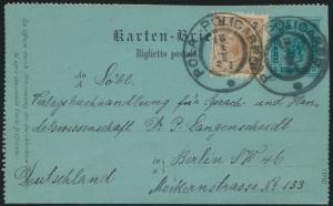 Österreich Ganzsache Kartenbrief K 17 + ZuF Pola nach Berlin 1897