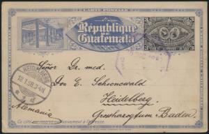 Guatemala Ganzsache P 9 Ausstellung Exhibition postal stationery n Heidelberg
