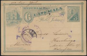 Guatemala Ganzsache 3c green Ansicht via New Orleans Hamburg postal stationery