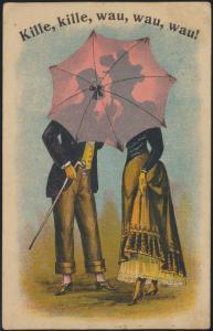 Künstler Ansichtskarte Jugendstil Art Nouveau Litho Kille Kille wau wau