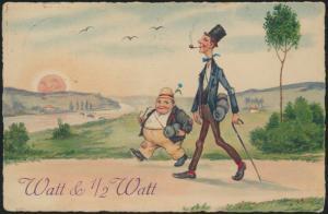 Künstler Ansichtskarte Jugendstil Art Nouveau LithoWanderer Niederlande Watt &