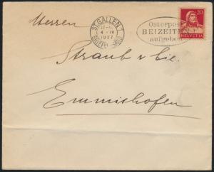 Schweiz Brief EF20cTell Stempel S Gallen Osterpost beizeiten aufgeben Emmishofen