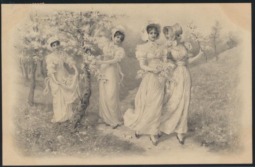 Ansichtskarte Jugendstil Art Nouveau Damen Frauen Mode 1906 0