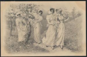 Ansichtskarte Jugendstil Art Nouveau Damen Frauen Mode 1906