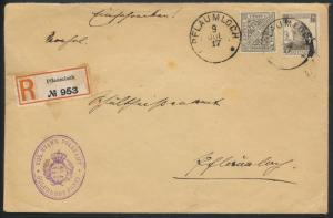 Altdeutschland Württemberg R Brief MIF Dienst 237 246 Pflaumloch 9.7.1917