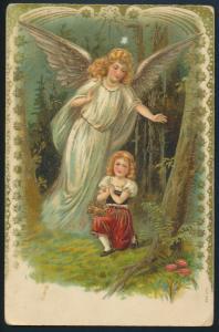 Ansichtskarte Weihnachten Neujahr Engel tolle Gold Prägekarte