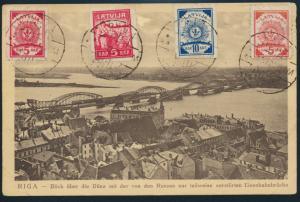 Ansichtskarte Lettland Riga sehr attraktiv bildseitig frankiert Eisenbahnbrücke