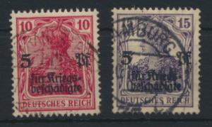 Deutsches Reich 105-106 Kriegsgeschädigtenhilfe gestempelt Kat.-Wert 11,00