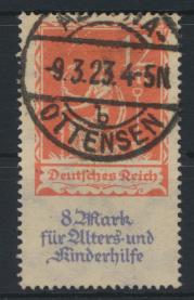 Deutsches Reich 234 Alters u. Kinderhilfe gestempelt Altona Ottensen 9.3.1923