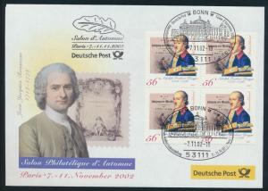 Motiv Philatelie Bund Brief Viererblock 2241 Ausstellung Paris Frankreich