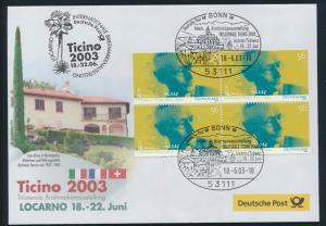 Motiv Philatelie Bund Brief Viererblock 2270 Hesse Ausstellung Locano Schweiz