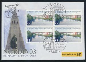 Motiv Philatelie Bund Brief Viererblock 2359 Brücken Ausstellung Reykavik Island