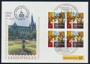 Motiv Philatelie Bund Brief Viererblock 2401 Ausstellung Liege Belgien