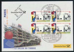Motiv Philatelie Bund Brief Viererblock 2394 Ausstellung Paris Frankreich