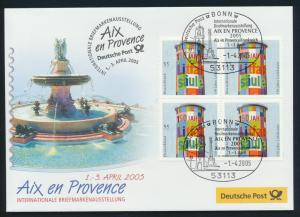 Motiv Philatelie Bund Brief Viererblock 2444 Litfaßsäule Aix en Provence Frankre