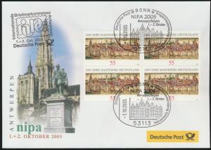 Motiv Philatelie Bund Brief Viererblock 2487 Magdeburg Ausstellung Belgien