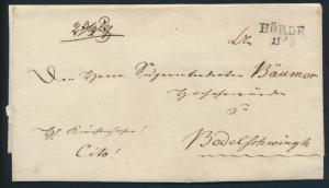 Altdeutschland Preussen Vorphila Brief mit L2 Hörde 11/2 ca. 1825
