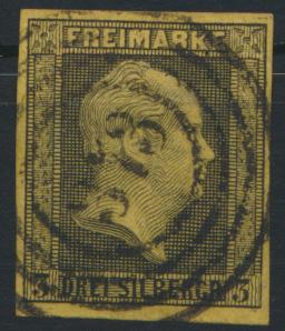 Altdeutschland Preussen 3 mit Nummern-Stempel 373 Elberfeld Luxus
