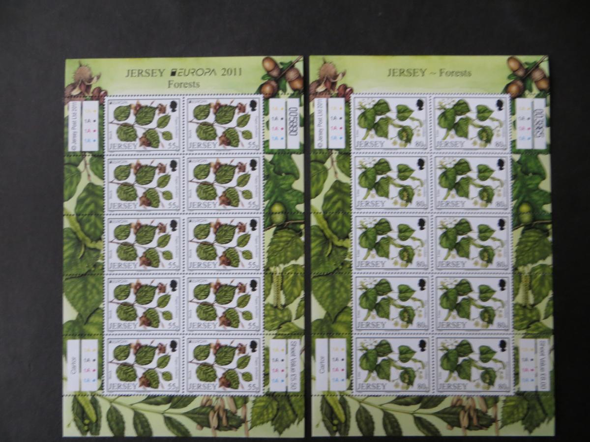 Großbritannien Jersey Kleinbogensatz 1535-38 Laubbäume Europa Luxus postfrisch  1