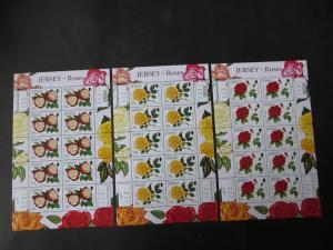 Großbritannien Jersey Kleinbogensatz 1494-99 Rosenausstellung Blumen Festival