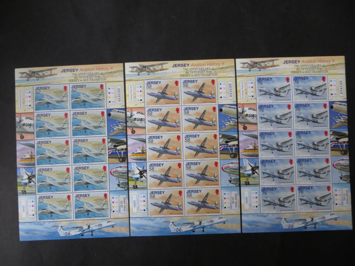 Großbritannien Jersey Kleinbogensatz 1387-1392 Luftfahrt Flugzeuge Luxus  1