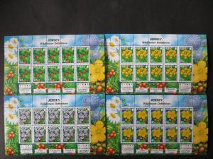 Großbritannien Jersey Kleinbogensatz 1290-1297 Wildblumen Pflanzen Flora