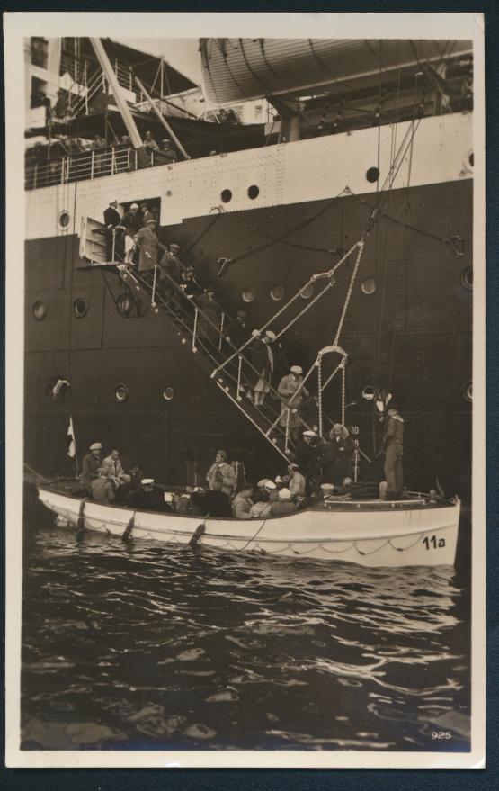 Ansichtskarte Schiffe Schiffahrt Ausboten der Passagiere Hamburg n Leipzig 1933 0