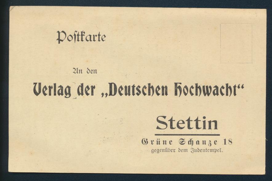 Ansichtskarte Verlag Dt. Hochwacht Stettin Zeitung Grüne Schanze am Judentempel 1