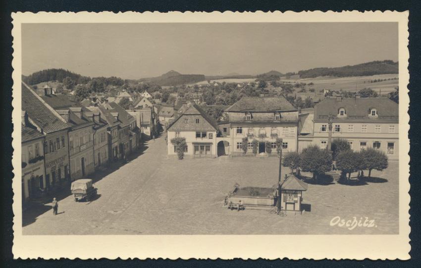 Ansichtskarte Oschitz Sudetenland nach Vegesack Bremen 1938 0