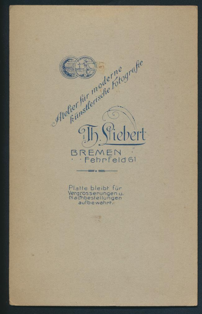 Original alte Fotoplatte Atelier Th. Lifbert Bremen Fehrfeld 61 um 1890 1
