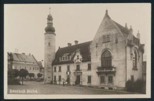 Ansichtskarte Deutsch Aicha Geschäft Passanten Český Dub Sudeten Tschechien