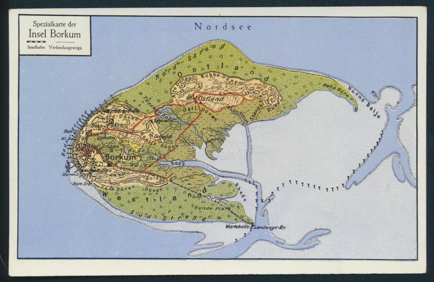 Ansichtskarte Insel Borkum Nordsee Landkarte Kartographie Niedersachsen 0