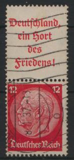 Deutsches Reich Zusammendruck S 143 Hindenburg gestempelt Kat.-Wert 6,00 0