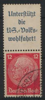 Deutsches Reich Zusammendruck S 155 Hindenburg gestempelt Kat.-Wert 5,00 0